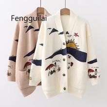 дешево!  Женщины и # 39s Осенние свитера Кардиганы с вышивкой Трикотажные однобортные Свободные пуховики и
