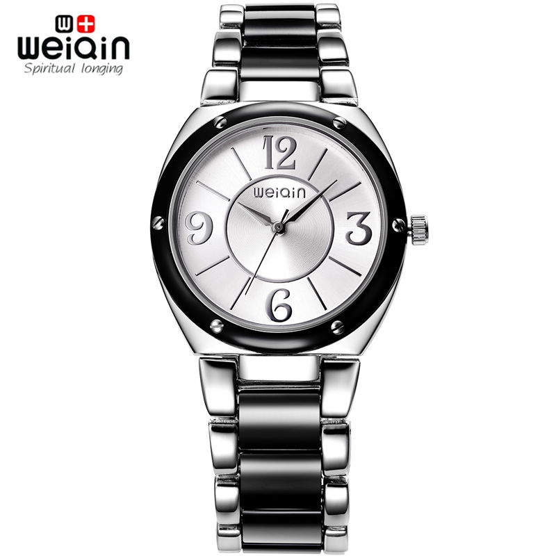 WEIQIN Lady Fashion Watches Shock Quartz Silver Water-Resistant Business Dress Band Black