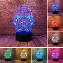 Colorful USB Star Wars Storm Trooper White Soldier 3D Lamp LED Night Light Touch Remote Home Party Cafe Decorative lighting gift new pokemons star wars disney princess 3d lamp led night light usb skull colorful acrylic kid baby deco christmas gift present
