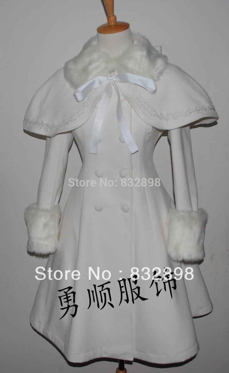 c7ca36b08e40 Lolita Gorgeous Sweet White Winter Wool Coat   Cappa Girls Winter ...