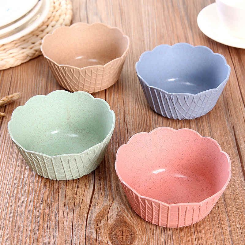 Non-toxic Plastic Kitchen Snack Bowl Dessert Ice Cream Fruit Salad Bowl European Style Candy Color 9.8*4.7cm
