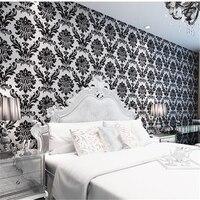 Non Woven Wallpaper High End 3D European Wallpaper Flocking Wallpaper Bedroom Warm Living Room Background Wall