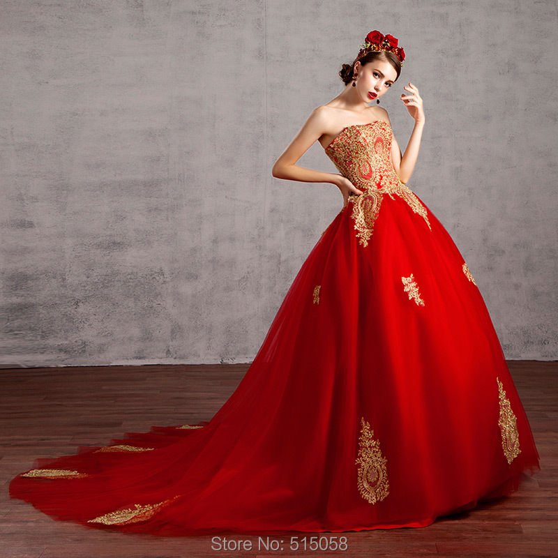 Gold Lace Liques Red Wedding Dresses Ball Gowns 2017 Strapless Bridal Dress Y In From Weddings Events On Aliexpress Alibaba