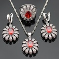 Red Imitated Garnet White CZ Silver Color Jewelry Sets For Women Necklace Pendant Earrings Rings Free Gift Box Made in China