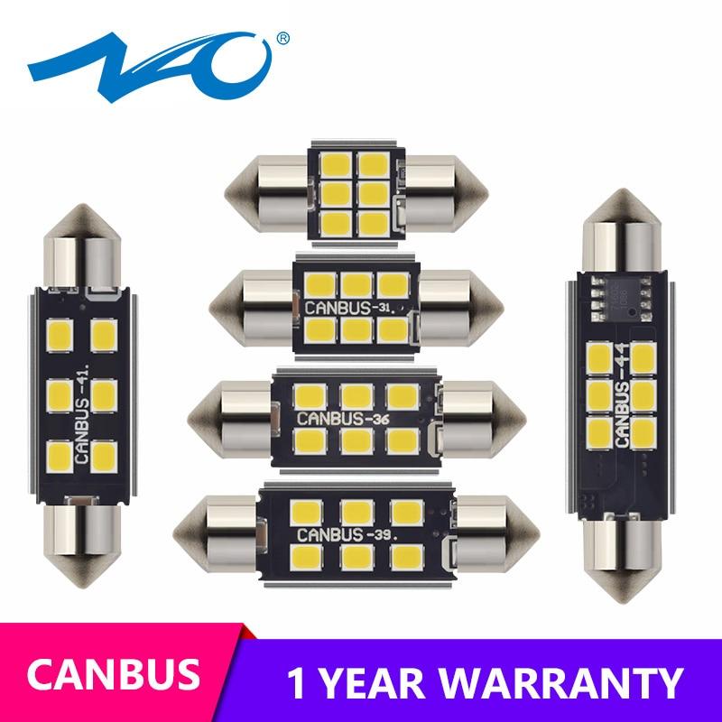 6 SMD LED Soffitte Lampe Boot Leucht 41mm 24V Sockel S8 weiß hell 40-44mm 1,6W