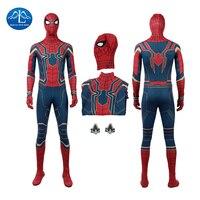 2018 New Movie Avengers Infinity War Spiderman Costume Men Spiderman Cosplay Costume Halloween Costumes For Men Custom Made
