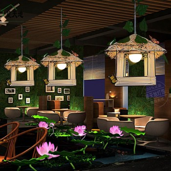 Personalized original rattan art braided chandelier small house restaurant girl bedroom children's room balcony garden garden