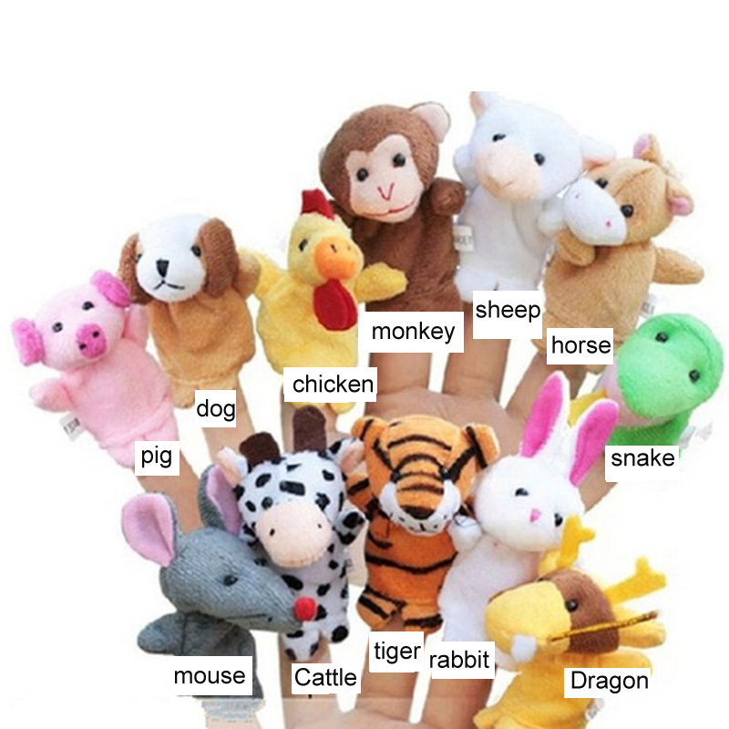 animal:  Finger Puppets Kids Toys Tell Story Props Zodiac Animals Children Gift Animal Doll Christmas Baby Children Furniture Sets 12 Pcs - Martin's & Co
