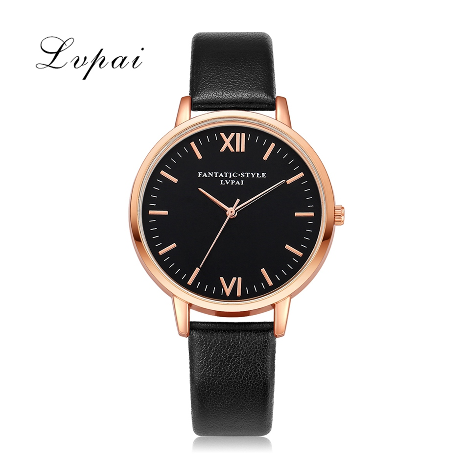 2017 Lvpai Top Brand Women Bracelet Watch Contracted Rose Gold Leather WristWatches Women Dress Ladies Quartz