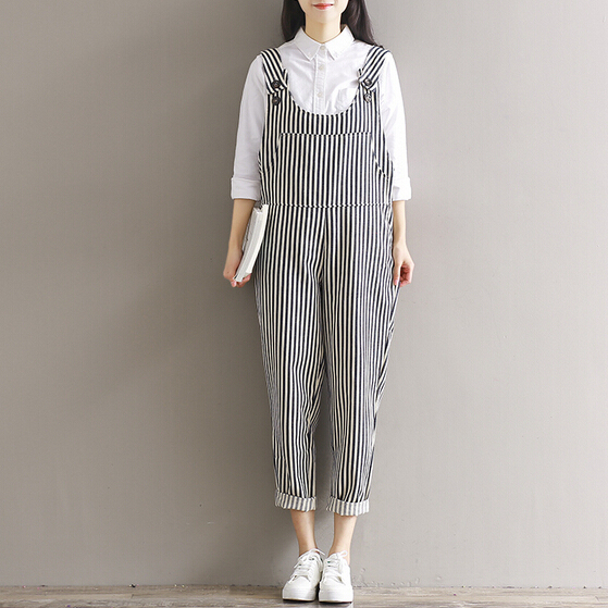 Clobee Mori Girl Style Overalls 2018 Spring and Summer Cotton Jumpsuit  Women Stripe Rompers Plus Size Womens Combinaison Femme 561c77811249