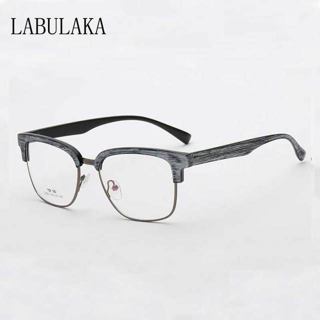 b7c46a228a Transparent Glasses Men Vintage Clear Lens Computer Glasses Women Retro  Alloy Eyewear Fashion Wood Grain Half