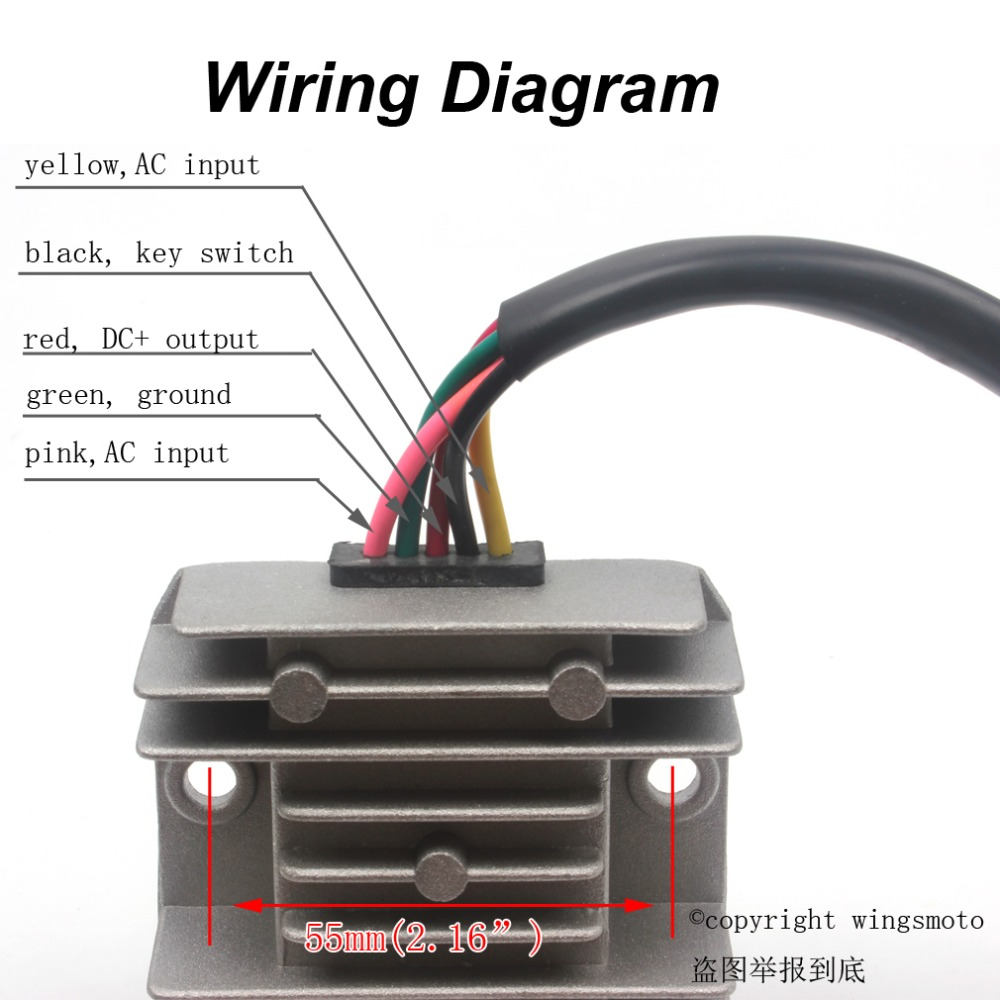 5 Wires 12V Voltage Regulator Rectifier Motorcycle Dirt Bike ATV GY6 50 150cc Scooter Moped JCL 5 wires 12v voltage regulator rectifier motorcycle dirt bike atv wiring diagram regulator rectifier at aneh.co
