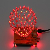 LED Cubic Ball DIY Kit Red LED Light Cube Cubic Ball Electronic Kit Remote Control Rhythm