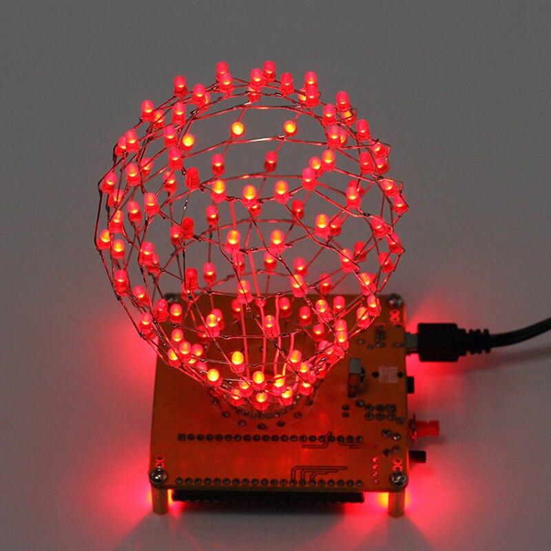 LED Cubic Ball DIY Kit Red LED Light Cube Cubic Ball Electronic Kit Remote Control Rhythm lamp Soldering Kits DIY Brain-Training
