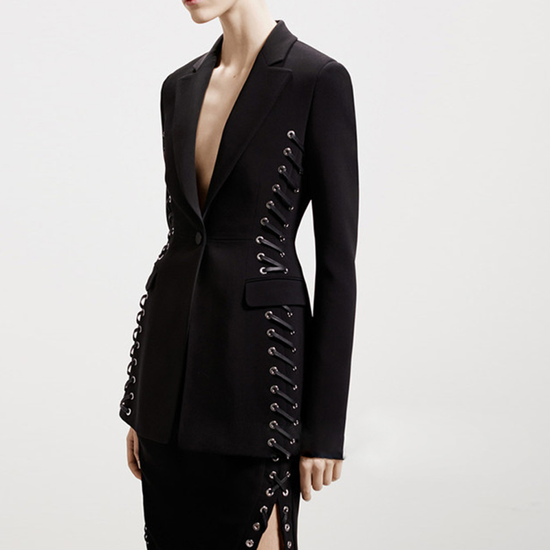 HIGH QUALITY Newest 2019 Baroque Designer Blazer Women's Long Sleeve Stylish Rope Lacing Up Blazer Jacket