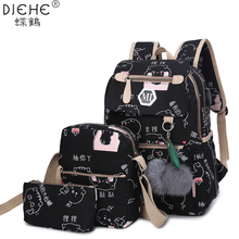 College Girl Canvas 3pcs Backpack letters Printing Women Usb School Backpacks Sc