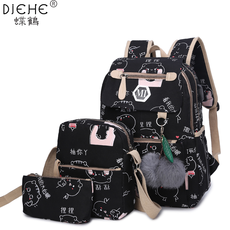 College Girl Canvas 3pcs Backpack letters Printing Women Usb School Backpacks Schoolbag for Teenagers Student Book shoulder bags
