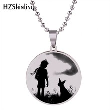 2018 New Stainless Steel Jewelry Little Prince with Fox Pendant Necklace Silver Long Ball Chain Fashion Gifts Women Men HZ7(China)