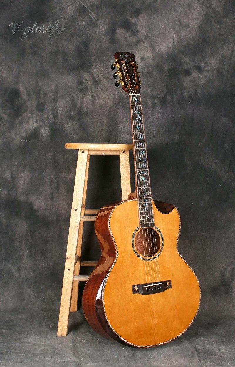 Étui rigide gratuit pour guitare électrique acoustique 39 pouces en bois massif fabriqué à la main