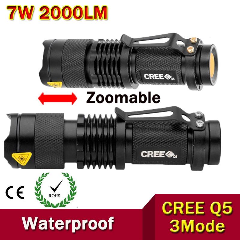 Berkualiti tinggi Mini LED Flashlight Zoom Black 2000LM kalis air LED - Lampu mudah alih