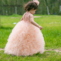 2017 Princess Ball Gown Blue Pink Flower Girl Dresses Cute Ball Gown Halter Summer Girls Pageant Dress for Weddings Party Gown