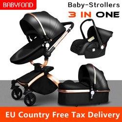 ¡Envío rápido de! Cochecito de bebé de lujo 3 en 1 de marca cochecito de bebé de cuero PU asiento de coche de seguridad de la UE cuna recién nacido 0-3 años