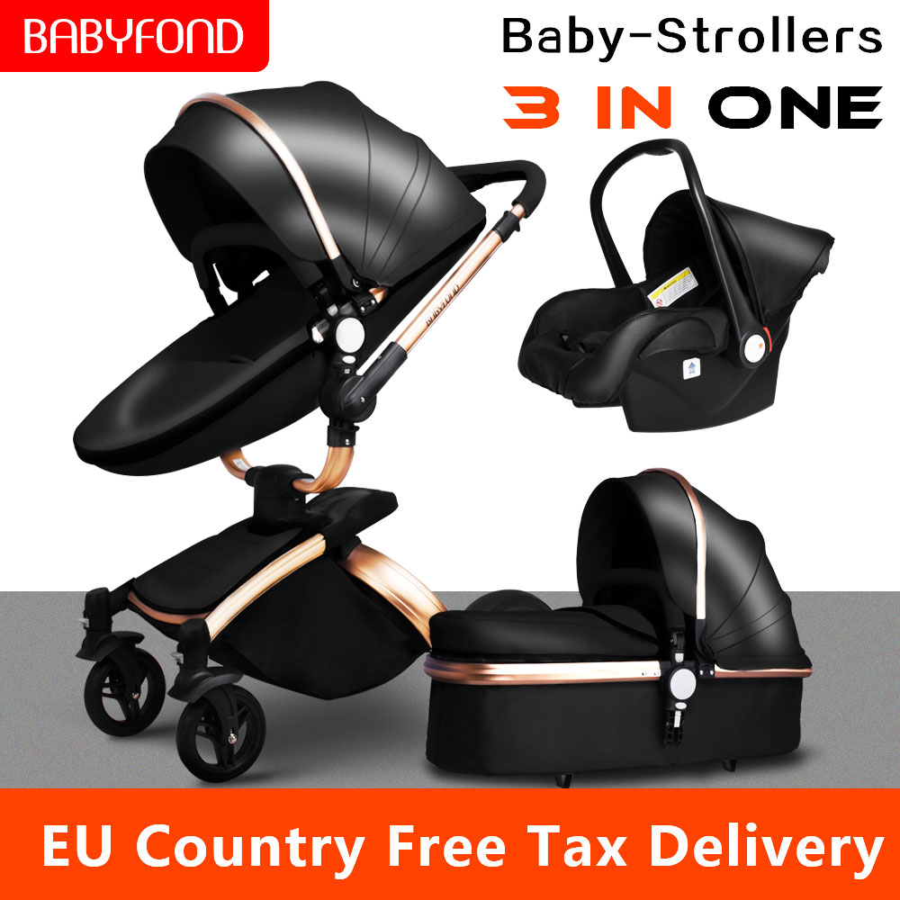 Fast Shippping ! Newborn Luxury 3 In 1 Baby Stroller Brand Baby PU Leather Pram EU Safety Car Seat Bassinet Newborn 0-3 Year