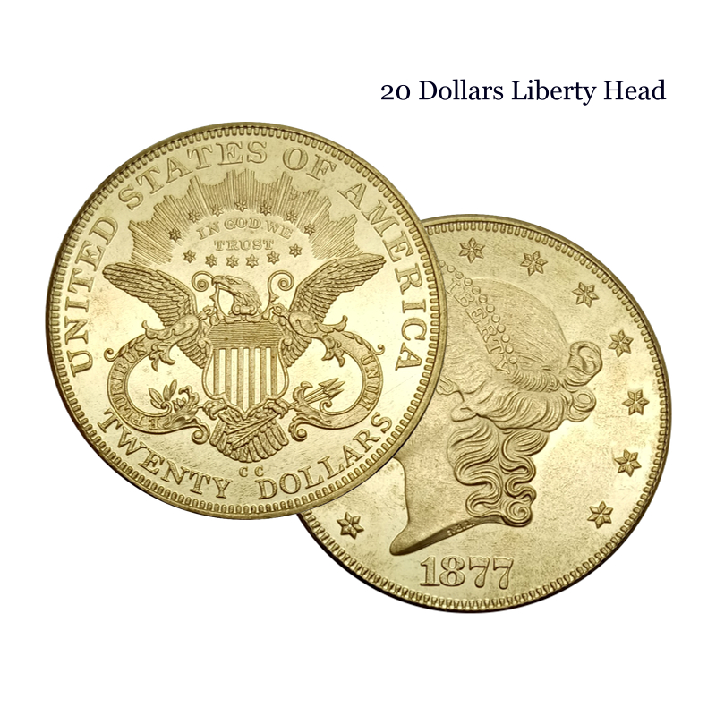 United States 1877 1877 CC 1877 S 20 Dollars Liberty Head Double Eagle with motto TWENTY DOLLARS Brass Metal Copy Coins