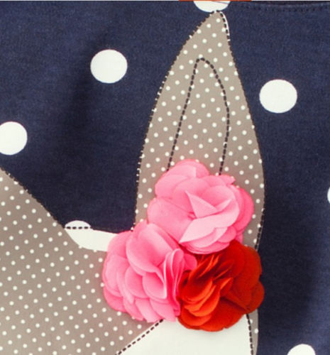 1-7Y Girls Cute Deer Long Sleeve Cotton Polka Dots Dress