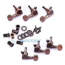 Vintage Style Bronze Guitar String Tuning Pegs Tuners Machine Head For Electric Acoustic 6pcs 3L3R Guitarra Parts