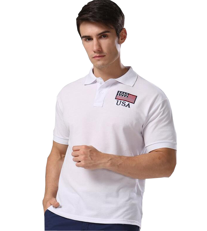 Summer Style Men   Polo   Shirt 2016 Arrive New Printing American Flag USA Pattern Casual   Polos   White Euro Size S-XXL C001