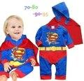 Комбинезон для младенцев супермен aumumn / весна мальчик ползунки хлопка с длинным рукавом обычное + плащ новорожденного детская одежда комбинезон