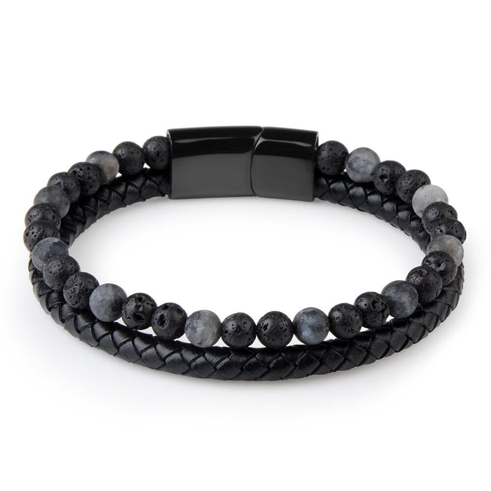 New Fashion Men Jewelry Natural Stone Genuine Leather Bracelet Black Stainless Steel Magnetic Clasp Tiger eye Bead Bracelet Men 3
