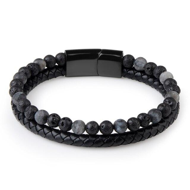 Natural Stone + Genuine Leather Bracelet 3