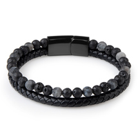 Natural Stone Bracelets Genuine Leather Braided Bracelet Black Stainless Steel Magnetic Clasp Tiger eye Bead Bangles Men Jewelry