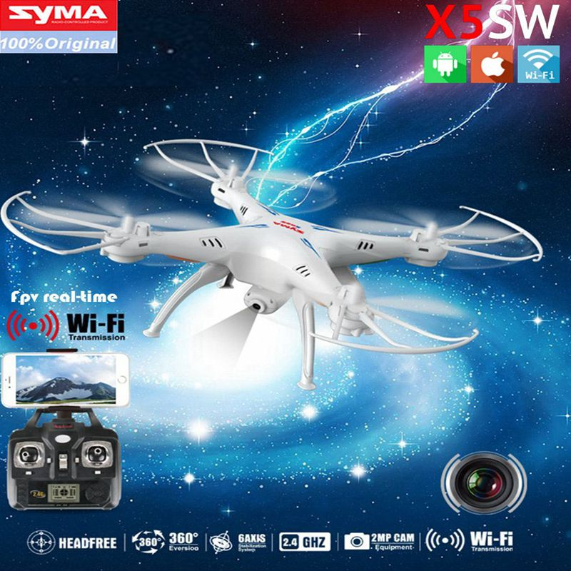 SYMA X5SW WIFI RC Drone fpv Quadcopter with Camera Headless 2.4G 6-Axis Real Time Remote Control Helicopter Quadcopter Toy syma x8w fpv rc quadcopter drone with wifi camera 2 4g 6axis dron syma x8c 2mp camera rtf rc helicopter with 2 battery vs x101