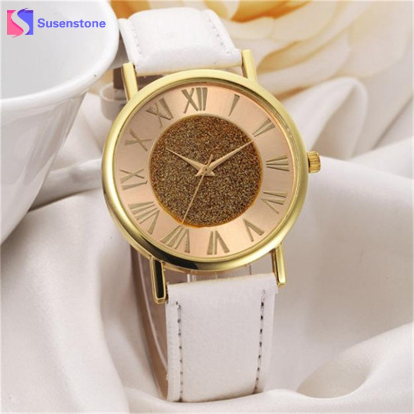 Cheap Fashion Glitter Dial Clock Watch Women Casual PU Leather Analog Quartz Watch Roman Numerals Dress Watches Wristwatch fashion leather watches for women analog watches elegant casual major wristwatch clock small dial mini hot sale wholesale