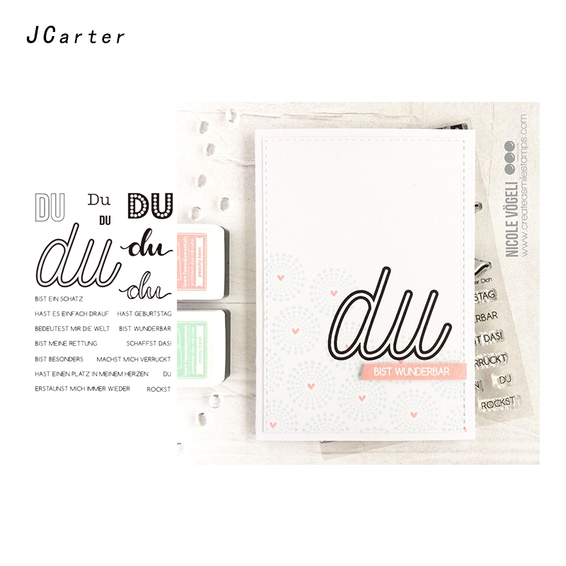 JC DU Words Clear Rubber Stamps Scrapbooking Sheet Silicone Seals Craft Stencil Album Letter Stamps Paper Card Making Decoration in Stamps from Home Garden