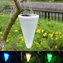 купить Outdoor LED Solar Lights Waterproof IP65 Cone Hanging Lamp Lanterns Automatic Solar Energy Charging Garden Decoration Light ABS в интернет-магазине