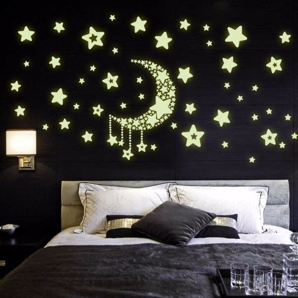 2017 New DIY Night Light Glow In The Dark Moon Stars Wall Stickers Home Decor Decals Kids Bedroom Flourescent Wall Stickers