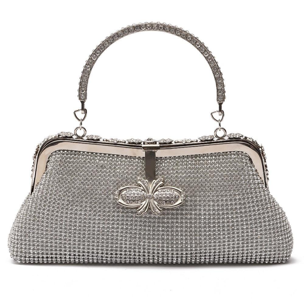 Femmes cristal sac de soirée argent diamant strass pochette sacoche fourre-tout petit mariage épaule sac à main bandoulière sac à main