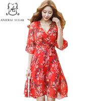 Summer Dress Women Vestidos Mujer Boho Red Green Small Floral Printing Sexy V Neck Flare Sleeve