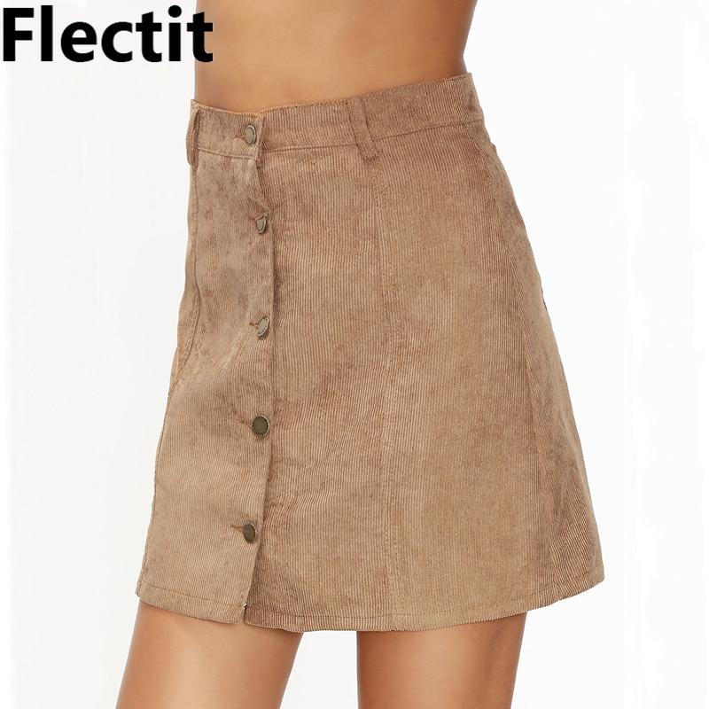 12310dcd976b9 Flectit Women Corduroy Mini Skirt with Front Button High Waist A-Line Cord  Skirt Female Saia Feminina