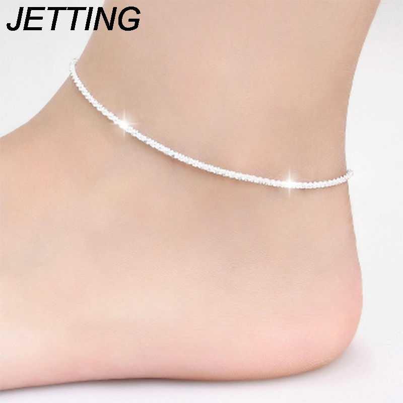 21 センチメートルシルバー足ジュエリー噴射流行シルバーメッキ麻ロープチェーンブレスレットアンクレット tornozeleira ジュエリー女性のための