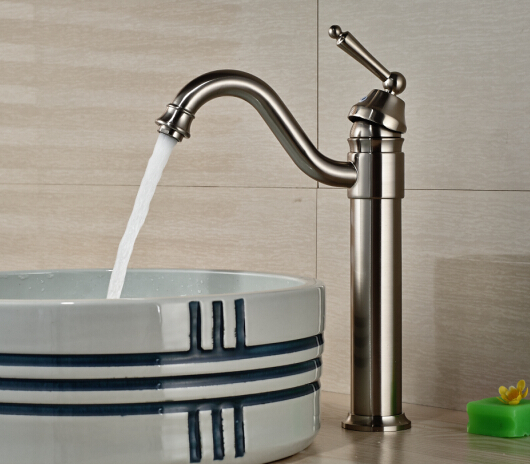 Free Shipping!Luxury Nickel Brushed Vessel Basin Faucet Waterfall Spout 1Handle free shipping new nickel brushed vessel basin faucet waterfall spout 1handle