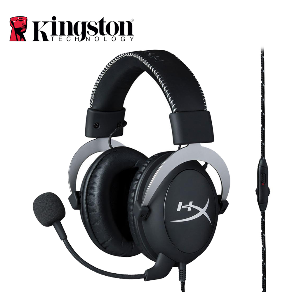 Kingston HyperX Cloud Silver Gaming Headphone With Microphone Volume Control Headset 3.5mm With Mic For PS4/Xbox One/PC Gamer 3 5mm gaming headphone for computer with microphone splitter adapter new xbox one pc phone ps4 gaming headset gamer with mic