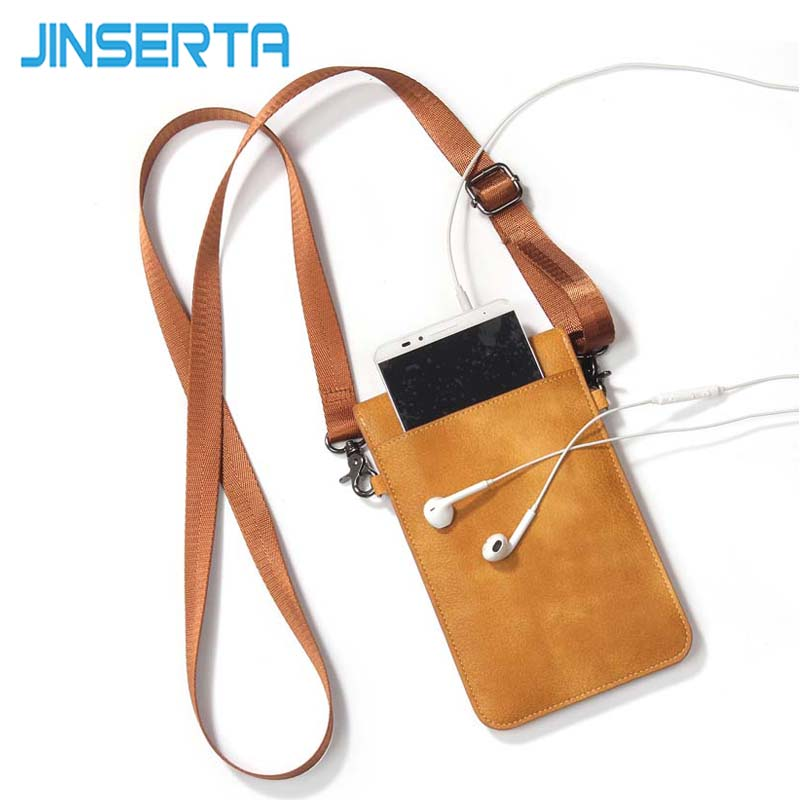 JINSERTA Universal Leather Cell Phone Bag Shoulder Pocket Wallet Pouch Case Neck Strap For Samsung Galaxy Note 8 6.3'' Phone