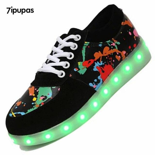 7 ipupas 11 Цвета СВЕТОДИОДНЫЕ Светящиеся Обувь любителей Led Обувь для Взрослых Мужчин и Унисекс Светящиеся Обувь USB Индикатор зарядки chaussure lumineuse