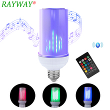 220V Bluetooth Lamp Speaker 110V LED Music Playing Lamp Dimmable 8W E27 E26 Flame Talking Bulbs With 24 Keys Remote Controller