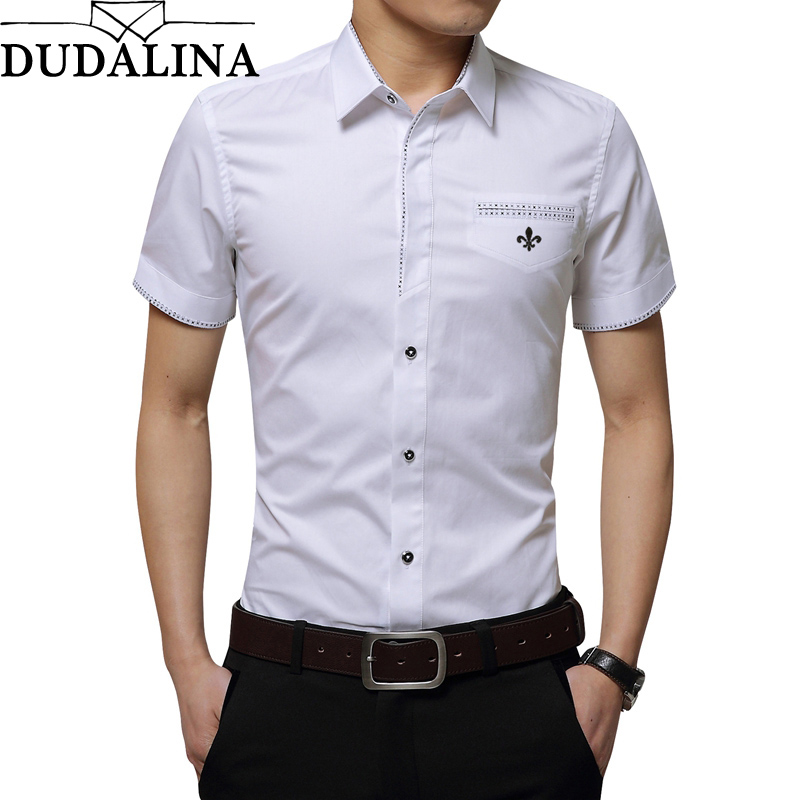 Dudalina 2019 New Brand Male Shirt Embroidery Men's Patchwork Color Short Sleeve Casual Shirts Men Fashion Summer Shirt Men